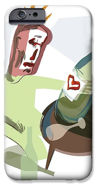 Wine Bottles iPhone Cases - Alcoholism, Conceptual Artwork iPhone Case by Paul Brown