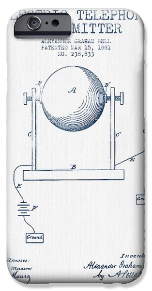 Circuit iPhone Cases - Alexander Graham Bell Electric Telephone Transmitter Patent from iPhone Case by Aged Pixel