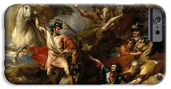 Fury iPhone Cases - Alexander III of Scotland Rescued from the Fury of a Stag by the Intrepidity of Colin Fitzgerald  iPhone Case by Benjamin West