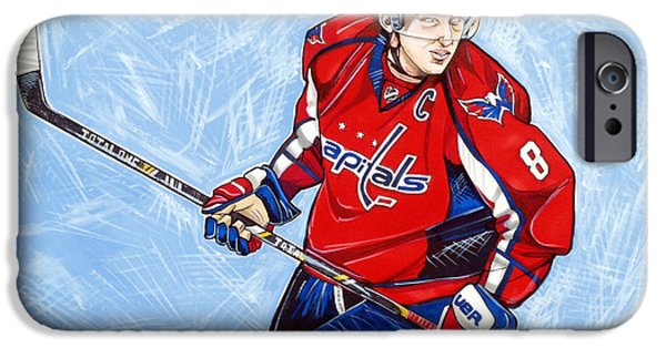 Hockey Drawings iPhone Cases - Alexander Ovechkin iPhone Case by Dave Olsen