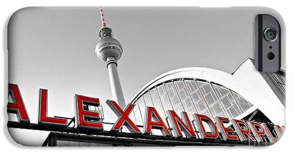 U-bahn iPhone Cases - Alexander Platz - Berlin iPhone Case by Luciano Mortula