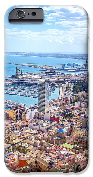 Panoramic Pyrography iPhone Cases - Alicante panoramic view iPhone Case by Dragomir Nikolov