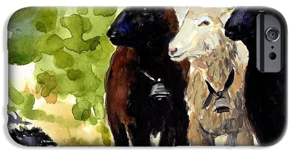 Sheep Paintings iPhone Cases - All Eyes iPhone Case by Molly Poole
