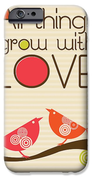 Recently Sold -  - Floral Digital Art Digital Art iPhone Cases - All things grow with love iPhone Case by Valentina Ramos