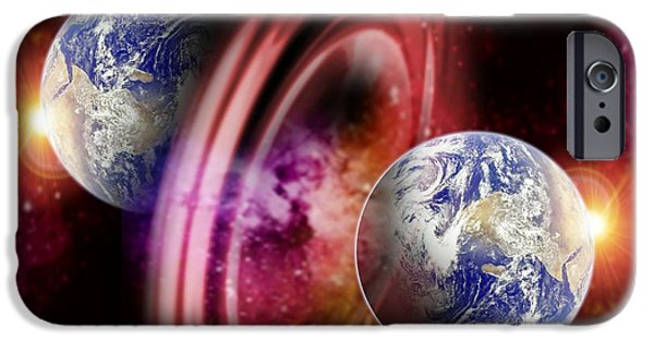 Astrophysics iPhone Cases - Alternate Dimensions, Conceptual Artwork iPhone Case by Victor Habbick Visions