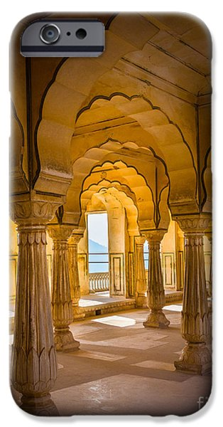 Amber iPhone Cases - Amber Fort Arches iPhone Case by Inge Johnsson