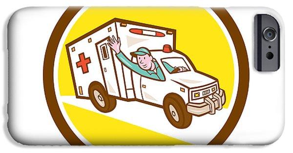 Ambulance iPhone Cases - Ambulance Emergency Vehicle Cartoon iPhone Case by Aloysius Patrimonio