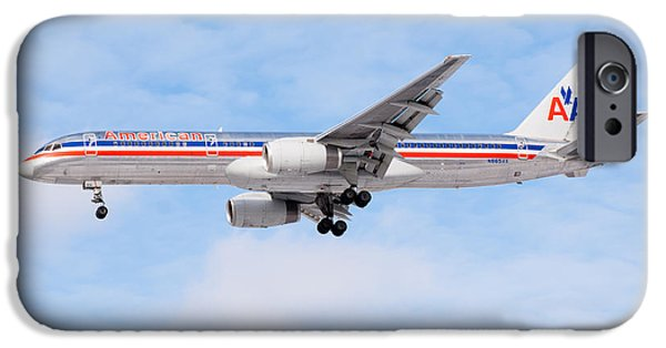 Airliner iPhone Cases - Amercian Airlines Boeing 757 Airplane Landing iPhone Case by Paul Velgos