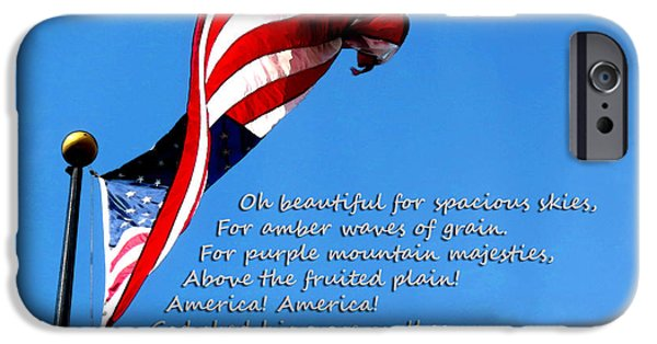 Freedom iPhone Cases - America The Beautiful - US Flag By Sharon Cummings Song Lyrics iPhone Case by Sharon Cummings