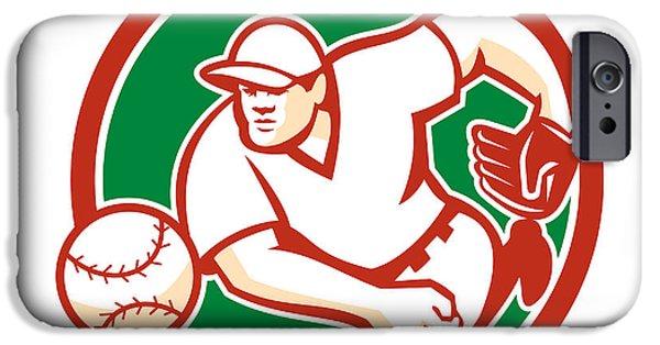 Baseball Glove iPhone Cases - American Baseball Pitcher Throwing Ball Circle Retro iPhone Case by Aloysius Patrimonio