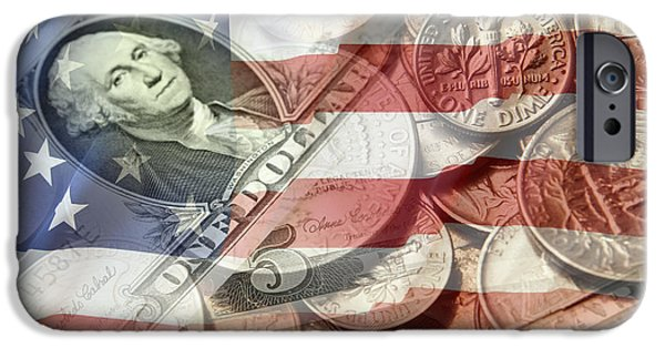 American Flag Digital Art iPhone Cases - American currency iPhone Case by Les Cunliffe