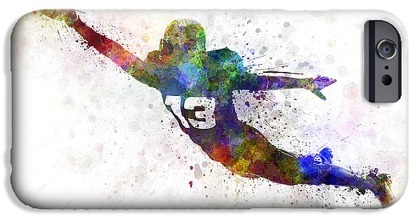 American Football Paintings iPhone Cases - American Football Player Scoring Touchdown iPhone Case by Pablo Romero