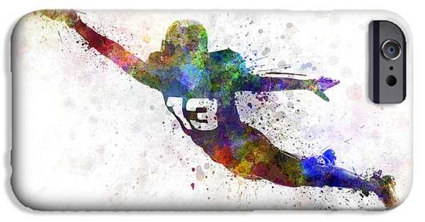 Cut-outs Paintings iPhone Cases - American Football Player Scoring Touchdown iPhone Case by Pablo Romero