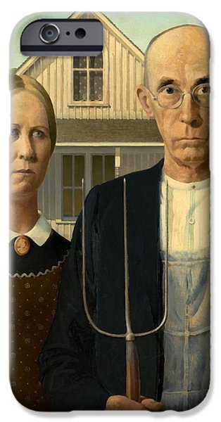 Gothic iPhone Cases - American Gothic iPhone Case by Grant Wood