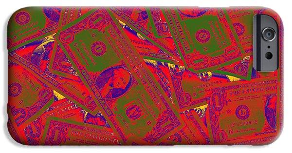 One Digital Art iPhone Cases - American One Dollar Bills Pop Art iPhone Case by Keith Webber Jr