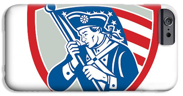 American Revolution Digital Art iPhone Cases - American Patriot Soldier Waving Flag Shield iPhone Case by Aloysius Patrimonio