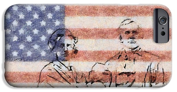 Old Glory Paintings iPhone Cases - American Patriots iPhone Case by Dan Sproul