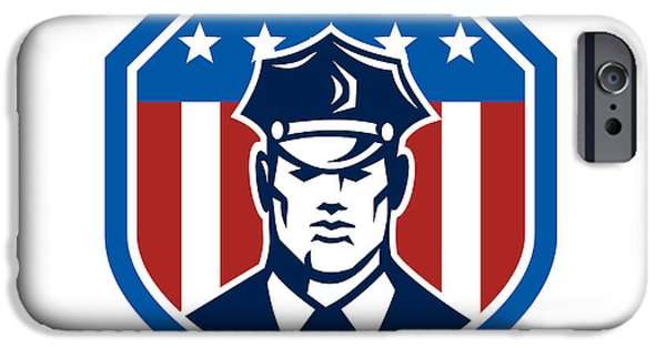 Police iPhone Cases - American Security Guard Flag Shield Retro iPhone Case by Aloysius Patrimonio