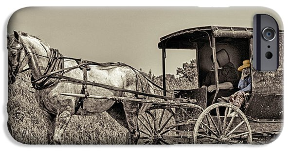 Amish Community iPhone Cases - Amish Boy Tips Hat iPhone Case by Robert Frederick
