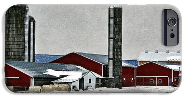 Red Barn In Winter iPhone Cases - Amish Farm iPhone Case by Stephanie Calhoun