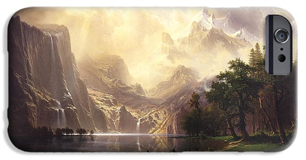 Park Scene Paintings iPhone Cases - Among The Sierra Nevada Mountains California iPhone Case by Albert Bierstadt