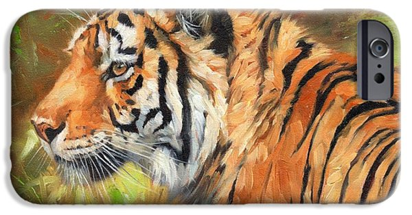 Wild Animals iPhone Cases - Amur Tiger Painting iPhone Case by David Stribbling