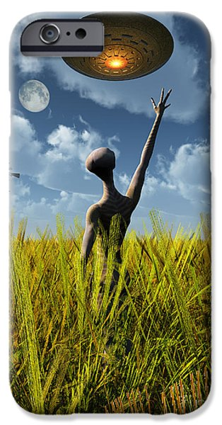 Paranormal Digital iPhone Cases - An Alien Being Directing A Ufo iPhone Case by Mark Stevenson