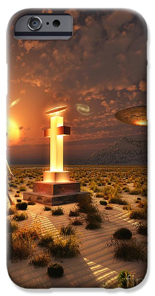 Built Structure Digital Art iPhone Cases - An Alien Returning To The Famous Crash iPhone Case by Mark Stevenson