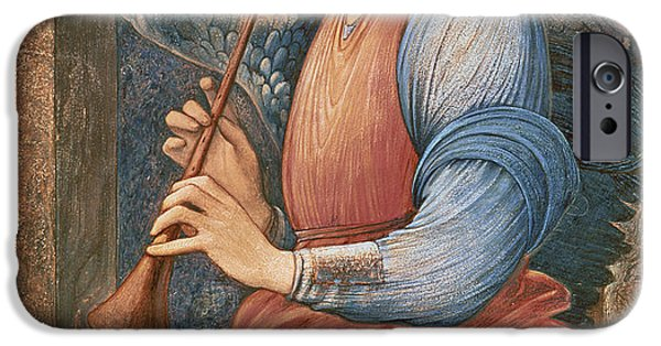 Angel Blues iPhone Cases - An Angel Playing a Flageolet iPhone Case by Sir Edward Burne-Jones