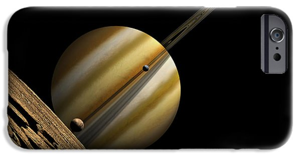 Moonscape iPhone Cases - An Artists Depiction Of A Ringed Gas iPhone Case by Marc Ward