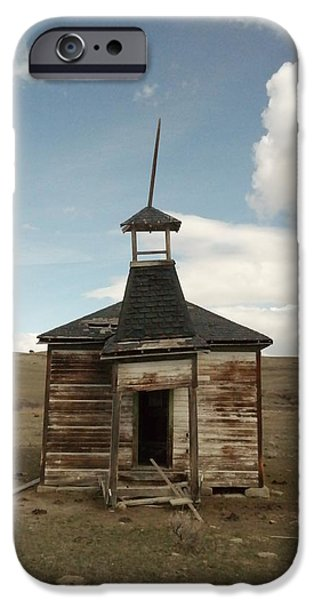 Old School Houses iPhone Cases - An Old Montana School House  iPhone Case by Jeff  Swan