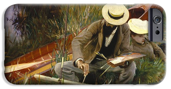 Nature Study Paintings iPhone Cases - An Out-of-Doors Study iPhone Case by John Singer Sargent