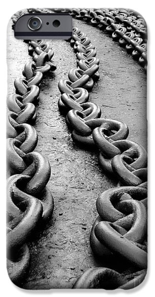 Chain-ring iPhone Cases - Anchor chain iPhone Case by Sinisa Botas
