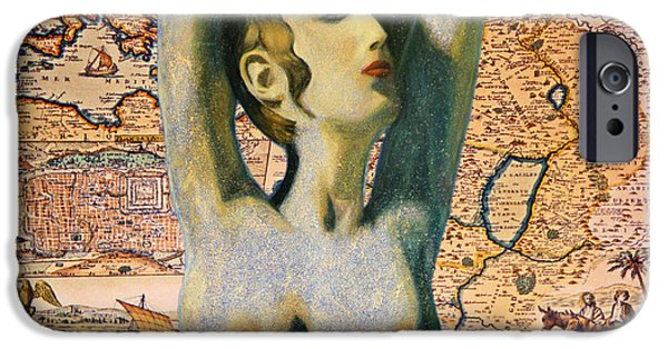 Old Map Digital iPhone Cases - Ancient Middle East Map and Aphrodite iPhone Case by Augusta Stylianou