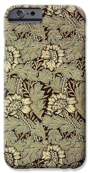 Black Tapestries - Textiles iPhone Cases - Anemone design iPhone Case by William Morris