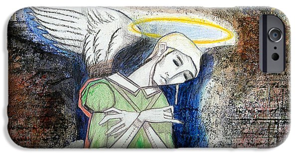 Statue Portrait Mixed Media iPhone Cases - Angel and Man iPhone Case by Chris Bradley