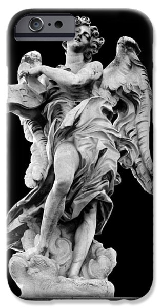 Cut-outs iPhone Cases - Angel with the Superscription iPhone Case by Fabrizio Troiani