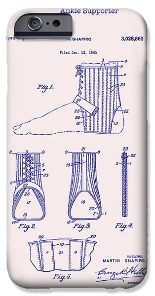 Support Drawings iPhone Cases - Ankle Supporter Patent 1962 iPhone Case by Mountain Dreams