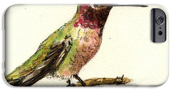 Cute Bird iPhone Cases - Anna s hummingbird iPhone Case by Juan  Bosco