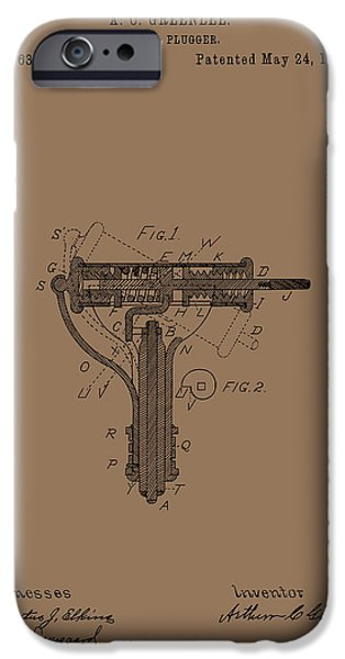 Dentist Drawings iPhone Cases - Antique Dental Plugger Patent 1887 iPhone Case by Mountain Dreams
