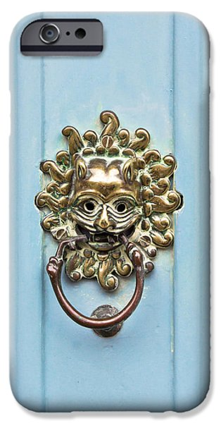 French Doors iPhone Cases - Antique door knocker iPhone Case by Tom Gowanlock