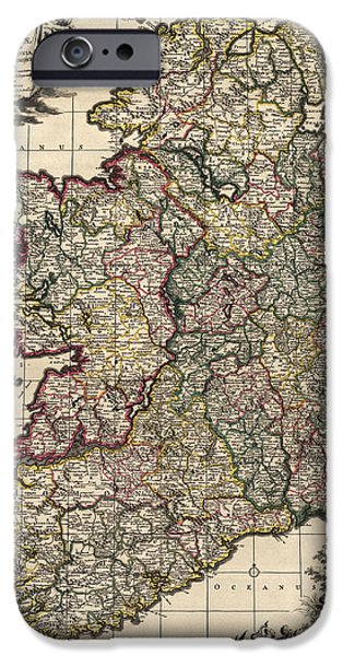 Recently Sold -  - Antiques iPhone Cases - Antique Map of Ireland by Frederik de Wit - circa 1700 iPhone Case by Blue Monocle