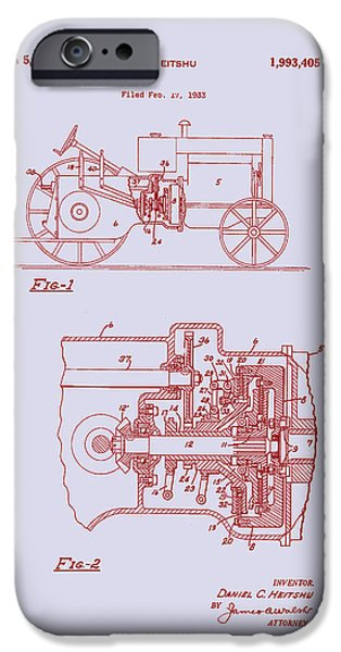 Agriculture Drawings iPhone Cases - Antique Massey-Ferguson Tractor Patent 1935 iPhone Case by Mountain Dreams