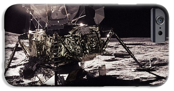 Space-craft iPhone Cases - Apollo 17 Moon Landing iPhone Case by Science Source