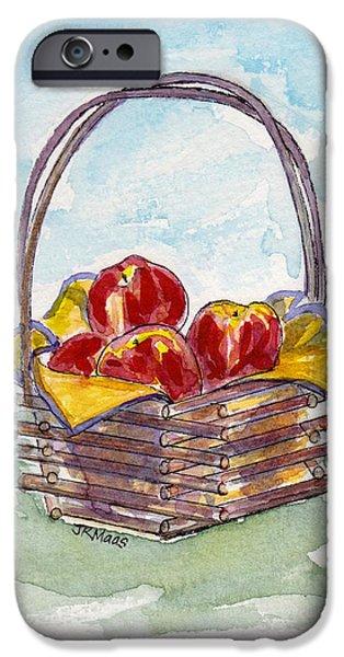 Basket Pastels iPhone Cases - Apple Basket iPhone Case by Julie Maas