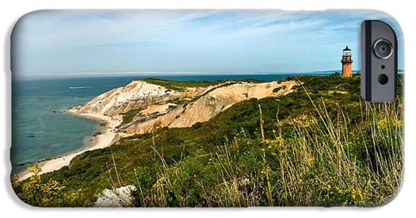 New England Lighthouse Photographs iPhone Cases - Aquinnah Gay Head Lighthouse Marthas Vineyard Massachusetts iPhone Case by Michelle Wiarda