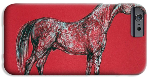 Horse Pastels iPhone Cases - Arabian Horse Drawing iPhone Case by Angel  Tarantella