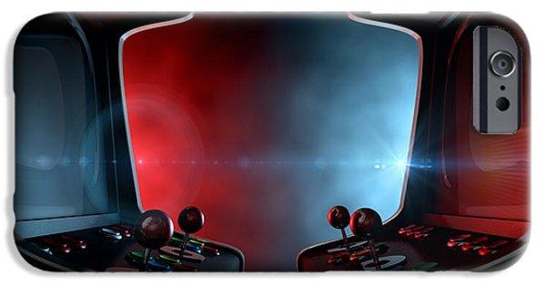 Concept Digital Art iPhone Cases - Arcade Machine Opposing Duel iPhone Case by Allan Swart