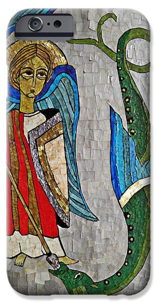 Michael Mixed Media iPhone Cases - Archangel Michael and the Dragon    iPhone Case by Sarah Loft