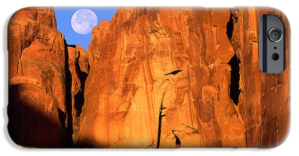 Red Rock iPhone Cases - Arches Moonset iPhone Case by Inge Johnsson